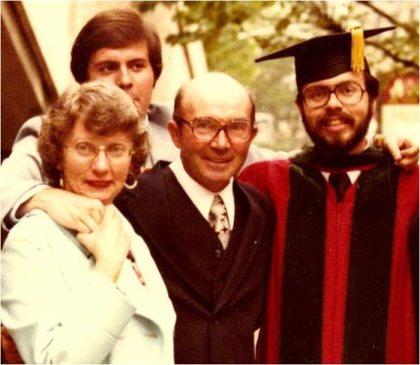 Graduation 1979, the author with his parents and brother